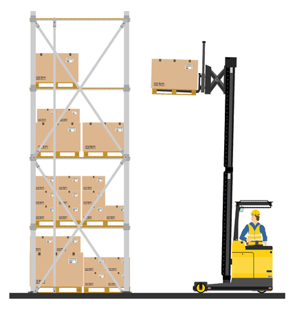 Illustration of forklift operating in the racks  Ilustração