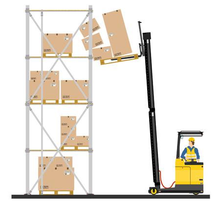 Illustration of forklift operating in the racks  Vector Vector