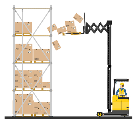 Illustration of forklift operating in the racks  Vector Vector