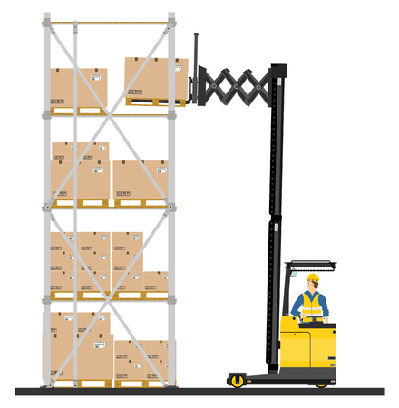Illustration of forklift operating in the racks  Vector Vectores