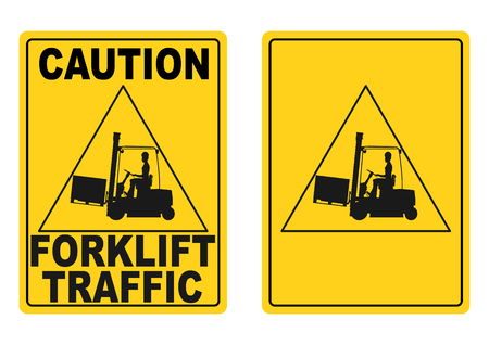 Warning sign with the silhouette of a forklift truck  Vector  Vector