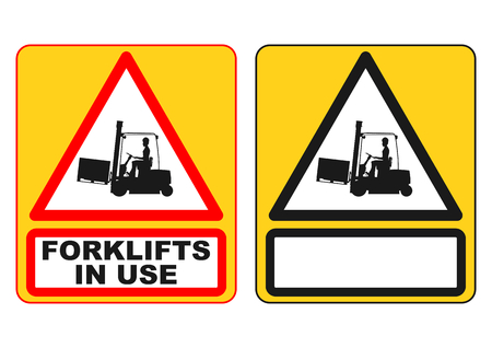 Warning sign with the silhouette of a forklift truck  Vector  Illustration