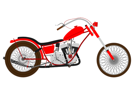 Cartoon vintage motorcycle on a white background   Vectores