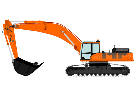 Illustration of orange excavator on tracks  Vector  Vector
