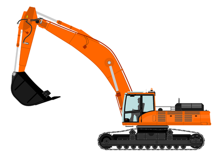 Illustration of orange excavator on tracks  Vector