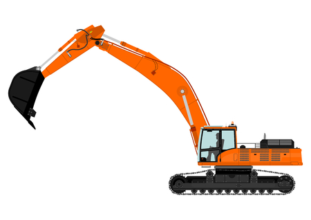 Cartoon heavy excavator on tracks  Vector Illustration