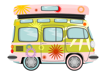 60s hippie: Funny cartoon retro van or small bus  Vector