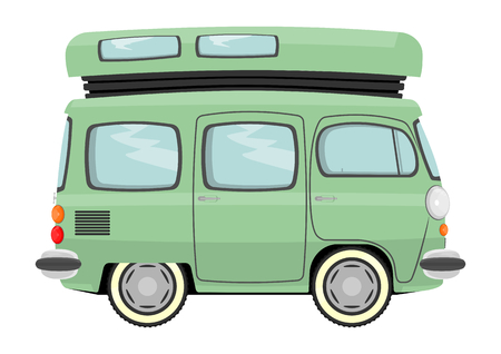 Lustigen Comic-Retro-Van oder Kleinbus Vector