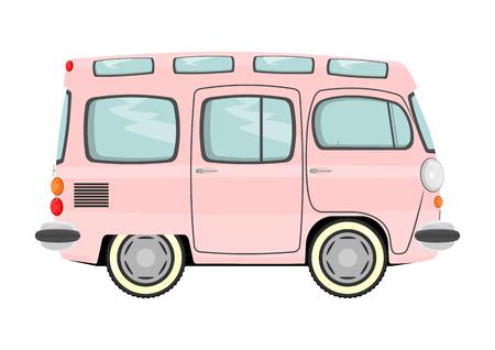 combi: Funny cartoon retro van or small bus  Vector