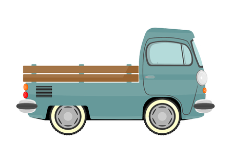 Funny cartoon retro van or small bus  Vector  Vector