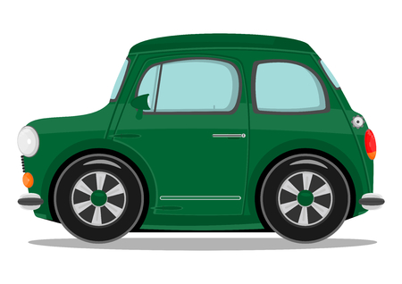 Funny cartoon small car  Vector illustration  Illustration