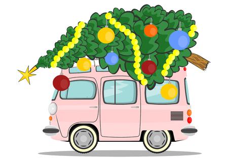 Cartoon car with a Christmas tree on the roof  Vector Vector
