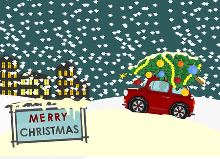 Greeting card with Christmas tree on the roof of the car  Vector Vector