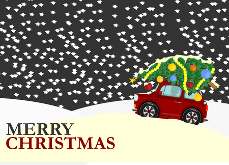 retail scenes: Greeting card with Christmas tree on the roof of the car  Vector