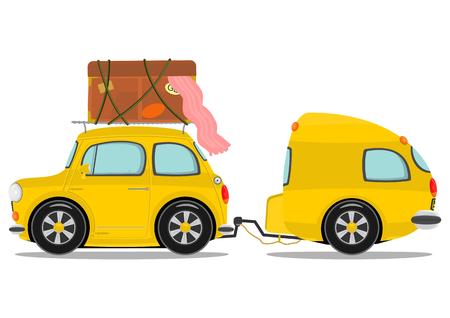 Funny yellow retro car with caravan  Vector  Vector