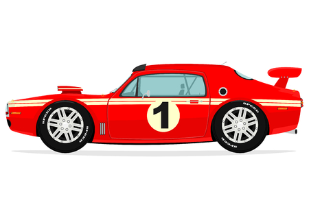low tire: Muscle car  Vector Illustration