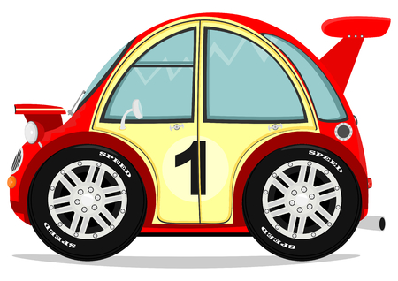 Funny little car  Vector illustration in comic style