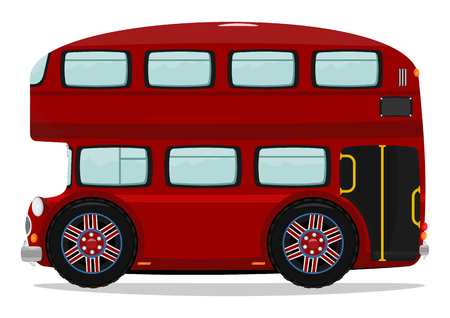 transportation cartoon: Funny London double-decker bus  Plenty of space for any text  Vector