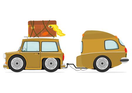 Funny cartoon car with caravan  Vector