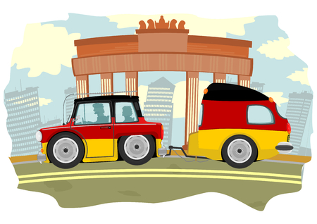 Funny cartoon car with a caravan in the colors of the German flag  Vector  Vector