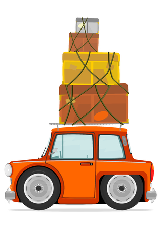 Funny cartoon car with cargo boxes on the roof  Vector  Vector