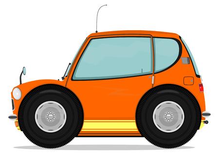 Small funny car  Cartoon illustration  Vector