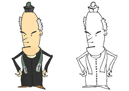 Coloring page of a comic Catholic priest. Vector Vector