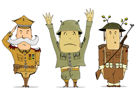 Comics soldiers of the First World War. Vector