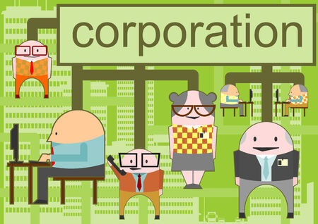 Corporation. Vector illustration with funny stick men. Illustration