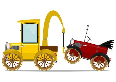 Divertente camion d'epoca di assistenza stradale. Illustrazione vettoriale senza sfumature.