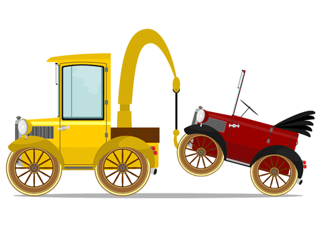 Funny vintage truck of roadside assistance. Vector illustration without gradients. Vector