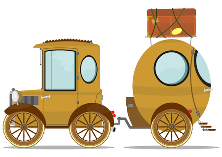 Funny vintage car with a caravan. Vector illustration without gradients.