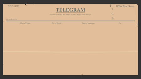 telegram: Blank telegram in retro style.