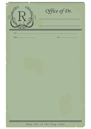 Blank vintage prescription. Illustration in style of the early 20th century. Vector base for further editing. Vector