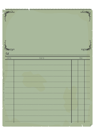 invoice: Vintage invoice or an accounting document.