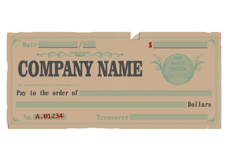Vintage blank check. Vector base for further editing. One layer, without gradients.