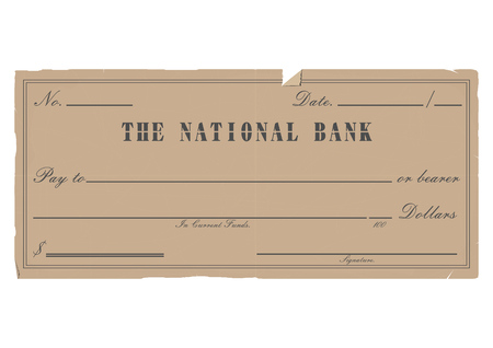 formal signature: Vintage blank check.