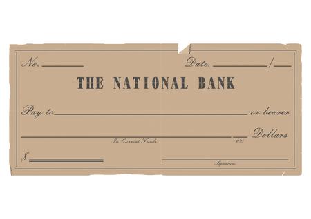 payee: Vintage blank check.