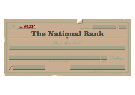 payee: Vintage blank check. Vector base for further editing. One layer, without gradients.