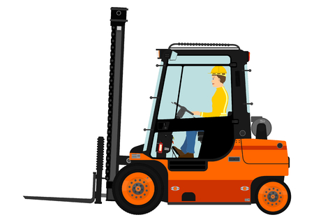Orange forklift. Vector without gradients on one layer. Vettoriali