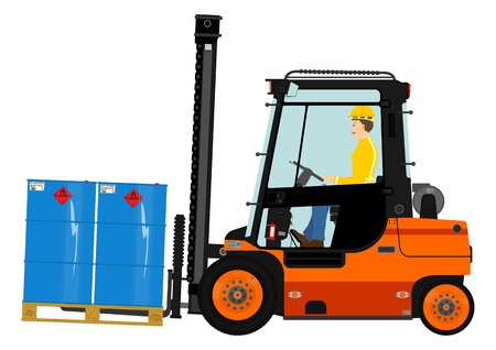Orange forklift. Vector without gradients on one layer. Иллюстрация