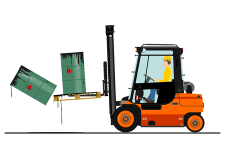 machine operator: Orange forklift. Vector without gradients on one layer. Illustration