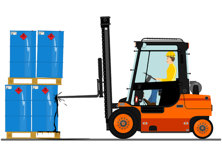 toxic accident: Orange forklift. Vector without gradients on one layer. Illustration