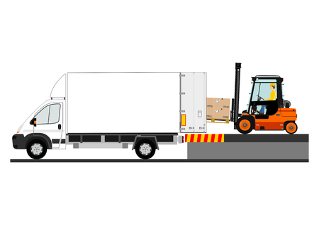 Dangers of working with a forklift truck. Stock Vector - 32277627