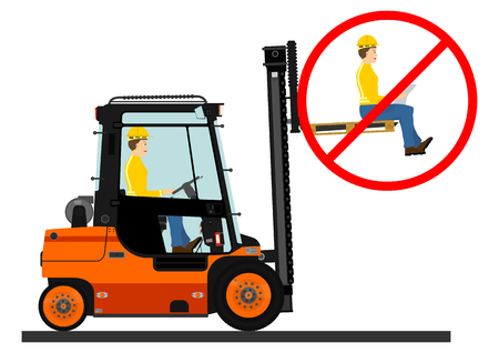 Dangers of working with a forklift truck. Vector