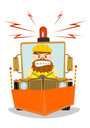 Snowplough. Cartoon vector illustration without gradients on one layer. Vector