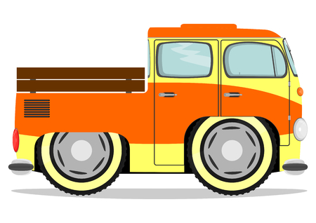 Funny old van. Vector illustration without gradients on one layer. Vector