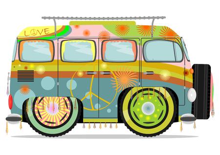 arcoiris caricatura: Coche hippie colorido divertido. Ilustraci�n vectorial sin gradientes en una sola capa. Vectores