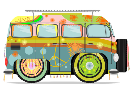 Funny colorful hippie car. Vector illustration without gradients on one layer. Vettoriali