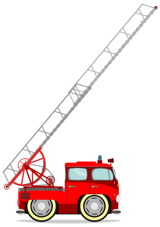 Funny firetruck. Vector illustration without gradients on one layer. Ilustração